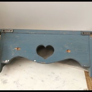 Wall Art - Vintage Wooden Heart Shelf with Pegs